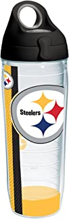 Tervis 1231147 NFL Pittsburgh Steelers Stripe Tumbler with Wrap and Black with Gray Lid 24oz Water Bottle, Clear