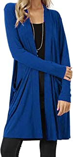 Xinantime Womens Casual Open Front Fly Away Cardigan Sweater Long Sleeve Plus Size Loose Drape with Pockets