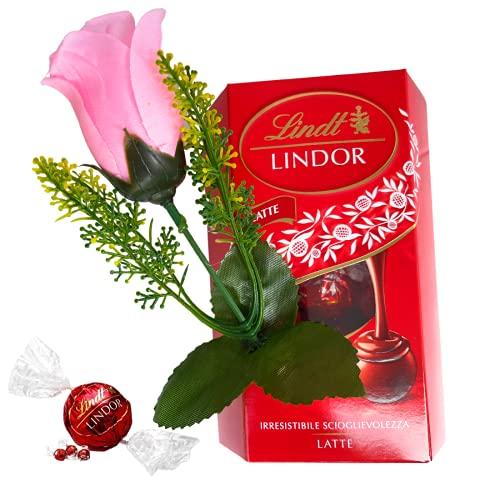 Auguri Lindor -Regalo Mamma- Regalo Papà - Lindt Cornet Lindor al Latte 200g + Rosa Color Rosa (Artificiale)