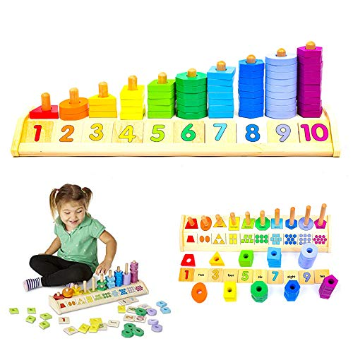 This STEM birthday gift ideas for a 3 year old girl teaches her how to count as well as her shapes and colors.