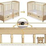 Gitterbett Babybett 2in1 60x120 mit Schublade Schlupfsprossen und Lattenrost Höhenverstellbar Umbaubar zum Juniorbett für Mädchen und Junge - 8