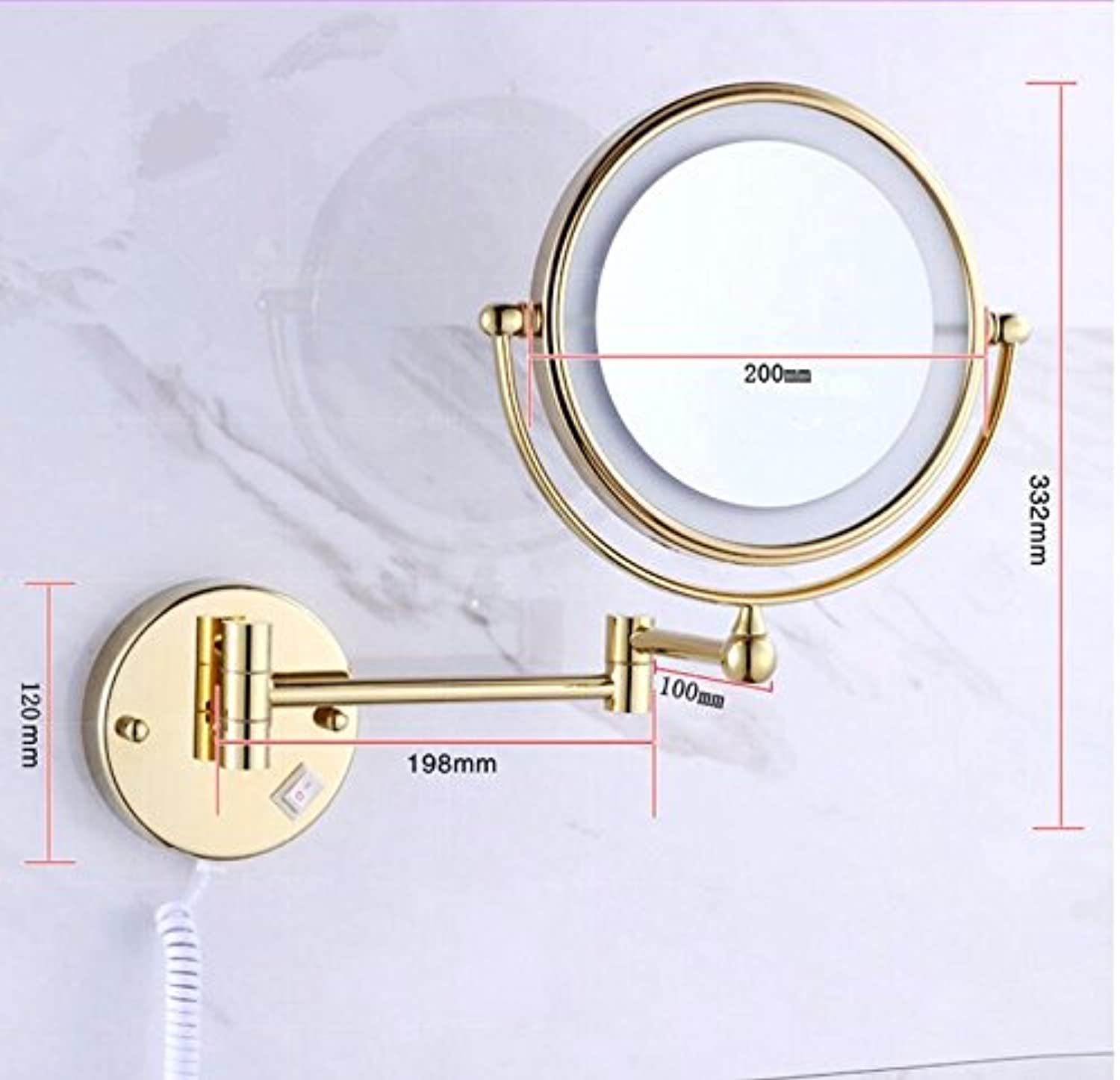 Copper bathroom LED magnifying mirror wall mirror folding mirror