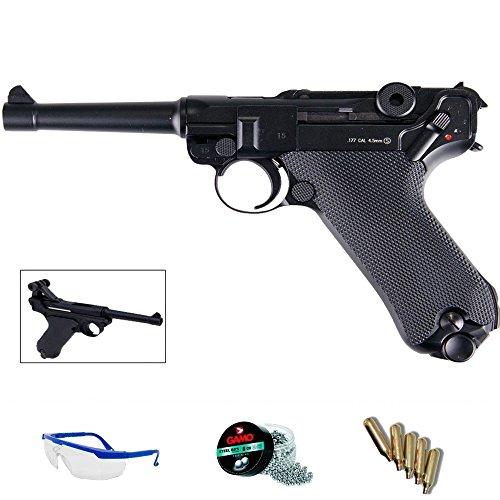 P08 Pack Pistola de Aire comprimido répluca KWC blowback (Luger 08) - Arma de CO2 y balines BBS (perdigones de Acero) <3,5J