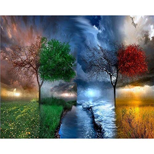 5D Diamond Painting Diamond Painting KitsDiamond Art for Adults and Kids Arts Craft Canvas for Home Wall Decor Four Seasons 12x16 inches (Frameless)
