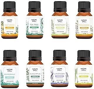 Nature Spell Aromatherapy Top 8 Luxury Essential Oils, Therapeutic Grade 100% Pure & Natural, Sweet Orange/Tea Tree/Rosemary/Frankincense/Peppermint/Eucalyptus/Lavender/Lemongrass-8x10ml, UK Brand