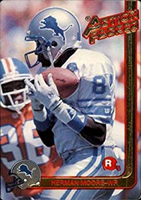 Football NFL 1991 Action Packed Rookie Update #1 Herman Moore #1 EX RC Rookie Lions