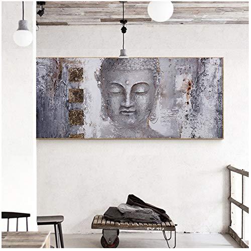 YANGMENGDAN Druck auf Leinwand Große Buddha Zen Wandkunst Bilder Leinwand Gemälde Druckplakat Ölgemälde Für Wohnzimmer Home Deco 60x140 cm x 1 stücke Kein Rahmen