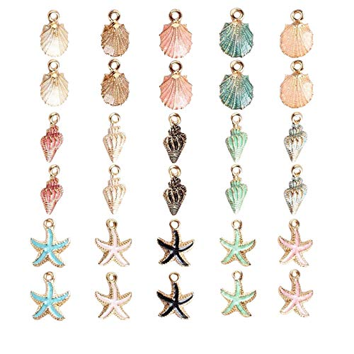 30pcs Mixed Enamel Charms Pendants, Shell Conch Starfish Charms Pendants, DIY Handmade Accessories, Alloy Pendant, for DIY Jewellery Charms Crafting Bracelet Necklace Ankle Earring