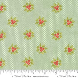Clearance Sale~Ella Ollie~Floral Posies Green, Cotton Fabric by Moda
