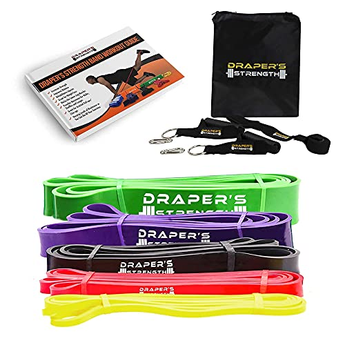 Draper's Strength Heavy Duty Pull Up Assist and Powerlifting Stretch Bands Add Resistance for Stretching, Exercise, and Assisted Pull Ups. Free E-Workout Guide (5 Band Set w/Accessories)