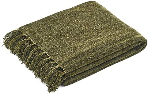 Americanflat Chenille Throw Blanket in Green Breathable Polyester with Decorative Fringe Wrinkle product image