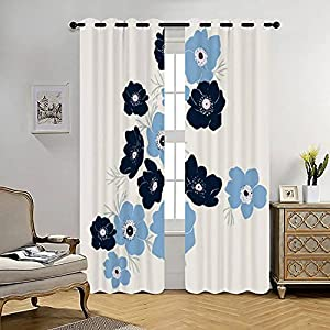 Blackout Curtains Abstract Hand Drawn Blue Anemone Flower Illustration Graphic Resource Thermal Insulated Lined Window Coverings for Living Room Bedroom Silk Curtains Grommet 2 Panels (70×84 Inch)