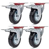 4 Ruote Girevoli Rotelle per Mobili 75mm,Ruote Piroettanti Con Freno,Ruote per il Trasport...