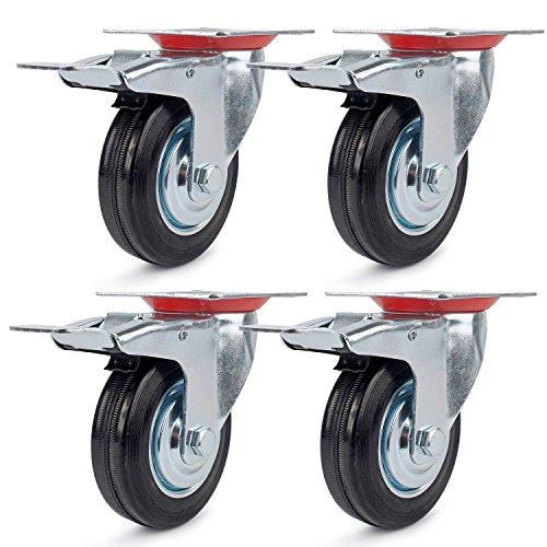4 Stück Transportrollen Lenkrollen 125mm Schwerlastrollen mit Bremse Möbelrollen Apparaterollen Schwarz Rollen 125mm Tragfähigkeit 100KG/Rolle 300KG/Set