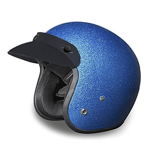 Daytona Helmets 3/4 Shell Open Face Motorcycle Helmet – DOT Approved [Blue Metal Flake] [L]