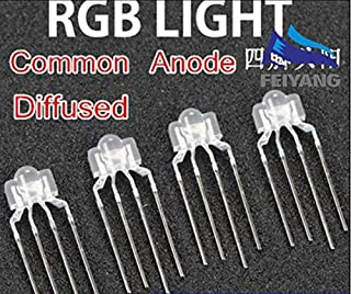 Value-Trade-Inc - 50PCS 3mm RGB led diffused 4-PIN multicolor dip led 2.6x3.5x6.5mm common anode full color light diode For Keyboard