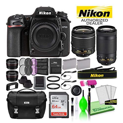 Nikon D7500 DSLR Digital Camera with 18-55mm and 70-300mm Lenses (13543) USA Model Deluxe Bundle...