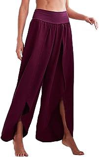 Qootent Women Yoga Pants Sports Split Solid Color Pants Elastic Loose Trousers