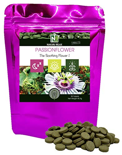 Passionflower | 90 Tablets of 510mg | NAKURU Relax | Powder Dried and Compressed in Cold | Analysed and Conditioned in France |The Soothing Flower
