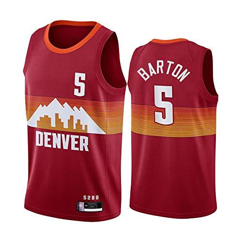 SHR-GCHAO Camiseta para Hombre, Camiseta De Baloncesto NBA Denver Nuggets # 5 Will Barton, Camiseta Cómoda Ligera Y Transpirable, Ropa Deportiva Sin Mangas,Rojo,L(175~180CM)