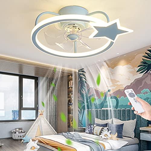 Ventilatore A LED Plafoniera Moderna Creativa Silenzioso Ventilatore Da Soffitto Camera Da Letto Soggiorno Dimmerabile Lampada Dei Bambini Stella Ultra Sottile Con Illuminazione Telecomando,Blu