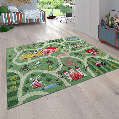 Paco Home Kinder-Teppich, Spiel-Teppich Für Kinderzimmer, Landschaft und Pferde, In Grün, Grösse:140x200 cm