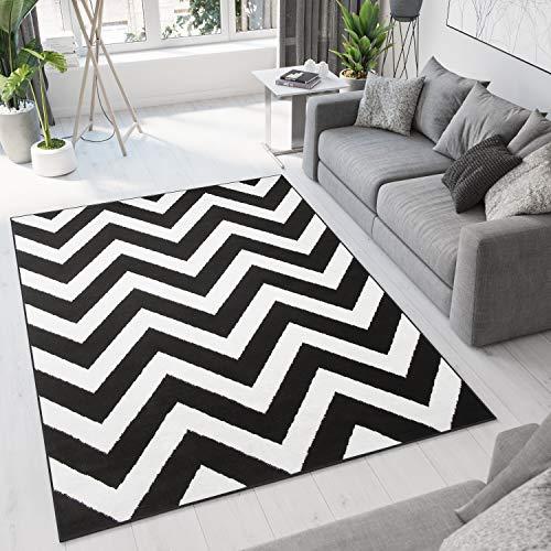 Tapiso Bali Alfombra de Salón Comedor Juvenil Diseño Moderno Negro Blanco Geométrico Zigzag Pelo Corto Suave 180 x 250 cm