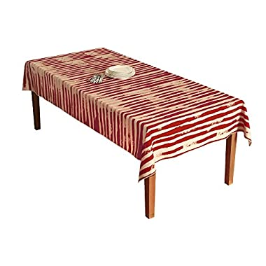 BottleCloth Premium Tablecloth - Superior Quality, Easy Clean, Spill Resistant, and Washable. Made from 100% Recycled Materials. Assorted colors and sizes. (60  x 102  Rectangle-Chili Pepper & Beige)