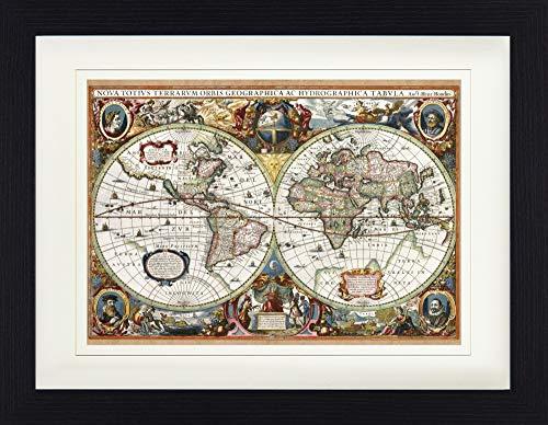 1art1 Historische Landkarten - Weltkarte, Nova Totius Terrarum, 1630 Gerahmtes Bild Mit Edlem Passepartout | Wand-Bilder | Kunstdruck Poster Im Bilderrahmen 40 x 30 cm