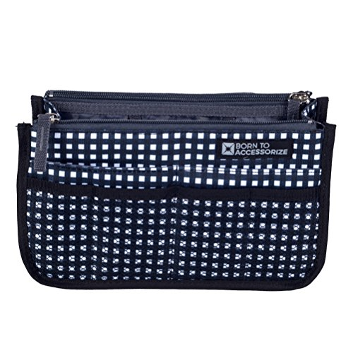 BTA Handbag Organizer with 13 Pockets - Perfect Insert to Keep Your Essentials Neat and Organized (S_Checkers)