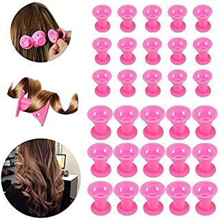 30Pcs Hair Rollers Curlers, Beautyshow Magic Hair Rollers Silicone Hair Style Rollers Soft DIY Sleep Hair Style Tools for ...