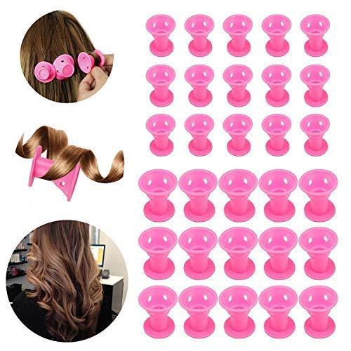 30 Pcs Rouleaux de cheveux en silicone,Beautyshow Bigoudis Flexibles Cheveux Rouleaux De Cheveux Magiques Magic Hair Curlers No Clip Rollers No pour Cheveux Bouclé (Rose)