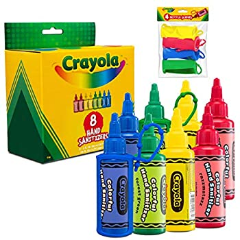 CRAYOLA Kids Hand Sanitizer Gel  8-Pack  2 oz Travel Size 75% Ethyl Alcohol Advanced No-Rinse Moisturizing Gel Made in USA 4 Colorful Matching Keychain Backpack Holders Included.…