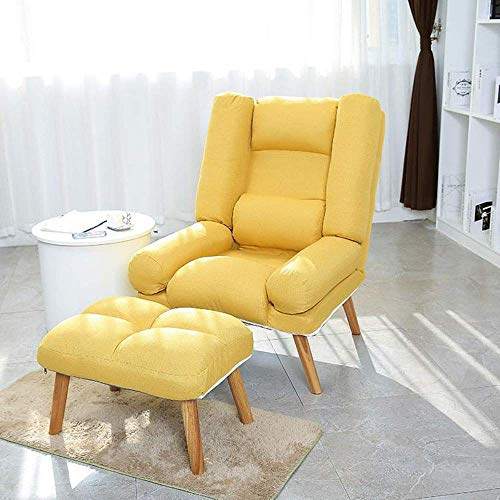 BJH Sofa Lounge Modern Folding Lazy Sofa Chair W/Ottoman With Foot Stool Ottoman For Living, Bedroom Small Apartment Lounge Armchair Furniture Couches