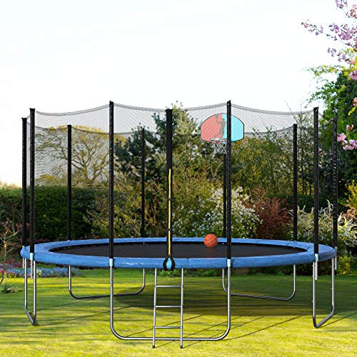 15FT Trampoline with Safety Enclosure, Basketball Hoop, Ladder for Kids Adults, Round Trampoline/Basketball Trampoline for Outdoor, Backyard(Blue, 15ft)