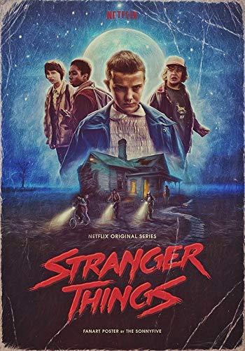 Stranger Things Film Movie Póster de Pared Metal Creativo Placa Decorativa Cartel de Chapa Placas Vintage Decoración Pared Arte Muestra para Bar Club Café