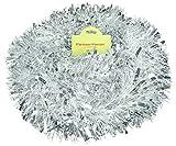 Christmas Concepts® 3m / 9.8ft Klobig/Feines Weihnachtslametta - Weihnachtsdekoration - Hochwertige Lametta (Mattweiß & Silber)