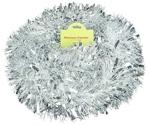 Christmas Concepts 3m / 9.8ft Chunky/Fine Christmas Tinsel - Christmas Decoration Tinsel (Matte White & Silver)