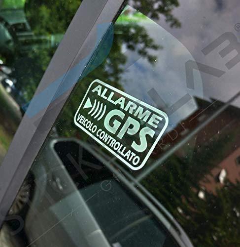 StickersLab - Pegatinas de Alarma GPS antirrobo para Coche, Moto, camión, Caravana, Color Negro Quantità - 4 Pezzi (12x6cm) Bianchi