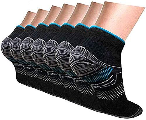 Calcetines de compresión para mujeres y hombres, 7 pares de calcetines de fascitis plantar, ideales para corredores, tobillos esguinces e hinchazón, calcetines de compresión
