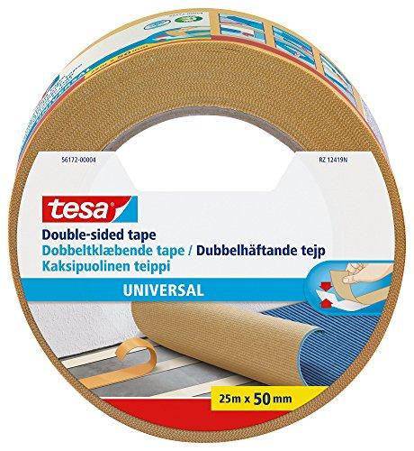 Tesa Nastri Biadesivo Universale - Biadesivo Versatile per il Fissaggio di Tappeti, per Lavori Manuali e Decorazione di Interni - 25 m x 50 mm