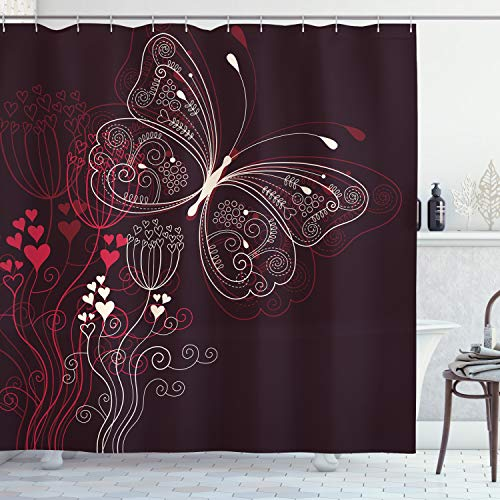 """Ambesonne Romantic Shower Curtain, Abstract Floral Heart Pattern with Butterfly Motif Romantic Illustration, Cloth Fabric Bathroom Decor Set with Hooks, 70"""" Long, Maroon Red Beige"""