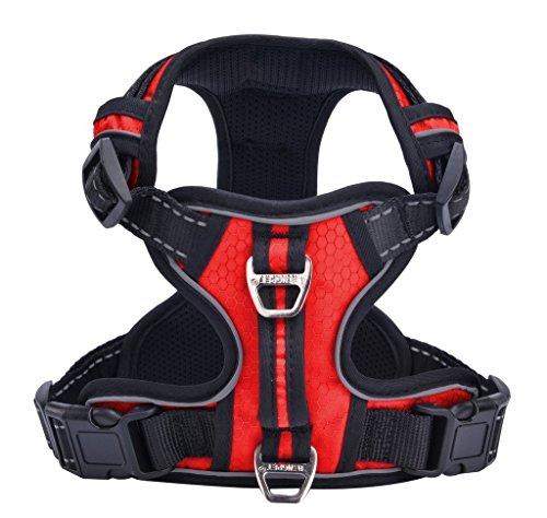 PUPTECK Best No-Pull Dog Harness with Vertical Handle,Calming Adjustable Reflective Outdoor Adventure Pet Vest,Red L