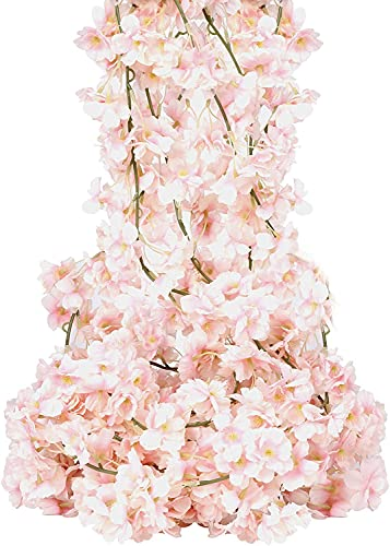 4 Pack Artificial Cherry Blossom Garland Pink Silk Floral Vine 5.9ft Faux Cherry Blossom Flower String Fake Flower Hanging Garland for Home Wedding Indoor Outdoor Fireplace Wall Decoration