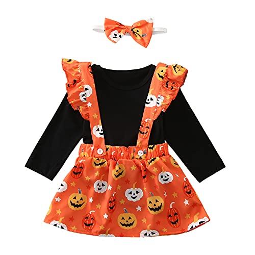 Pelele Negro de Manga Larga para Bebé Niña Falda de Tirantes con Estampado de Calabaza de Halloween Diadema con Lazo Mono de 3...