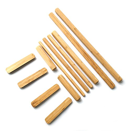Hugerox Warm Bamboo Full Body Massage Stick Set Solid Smooth with Less Stress on Hands and Wrists Natural Color Set of 12, Use at Home, Indoor,Massage Studio