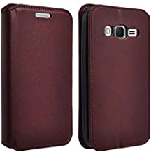 GW Compatible for Samsung Galaxy Grand Prime Case, Galaxy Go Prime Case Leather Magnetic Wallet Pouch with Built in Kickstand - Brown