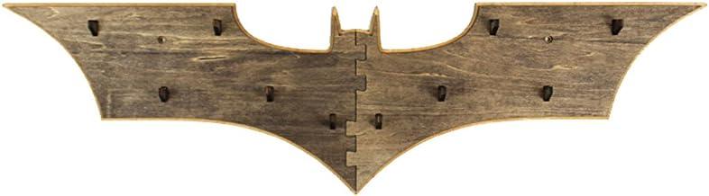 Yournelo Creative en bois Batman Art mural décoratif Porte-manteaux Crochets Burlywood