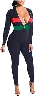 maweisong 女性ワンピースジャンプスーツロンパースロングスリーブbodyconジャンプスーツ