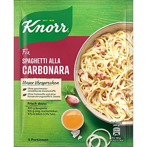 Knorr Fix Würzbasis Spaghetti alla Carbonara (ohne geschmacksverstärkende Zusatzstoffe & ohne Farbstoffe), 3 Portionen